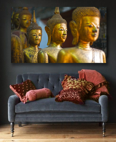 """Gold Buddhas"" Canvas with marsala color accents"