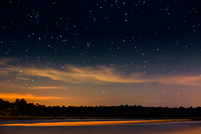 Sand Bar and Night Sky